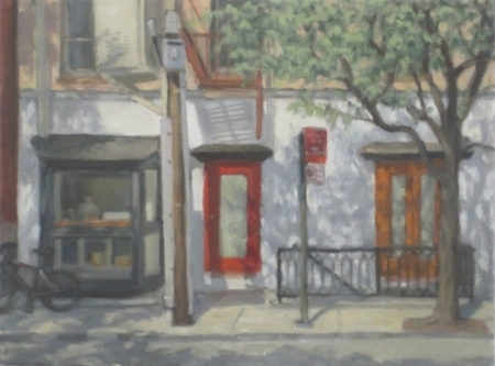 "Red Door, oil on canvas, 12""x16"", $990"