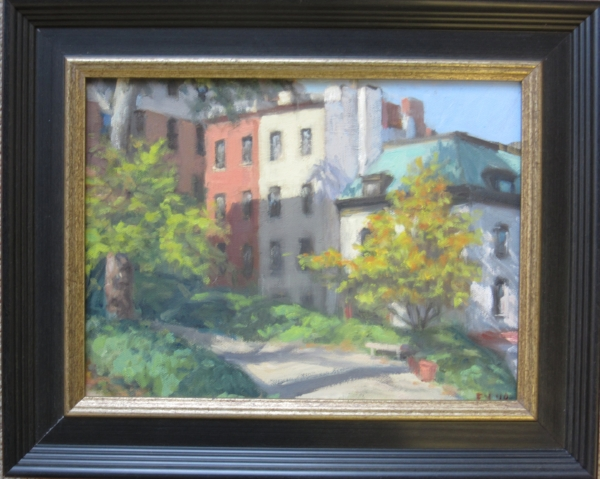 """St Marks Church Garden, oil on canvas, 9""""x12"""" (plus frame)"""