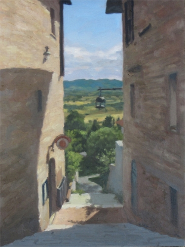 Stairs Down from Assisi , oil on canvas board, 16x12 in