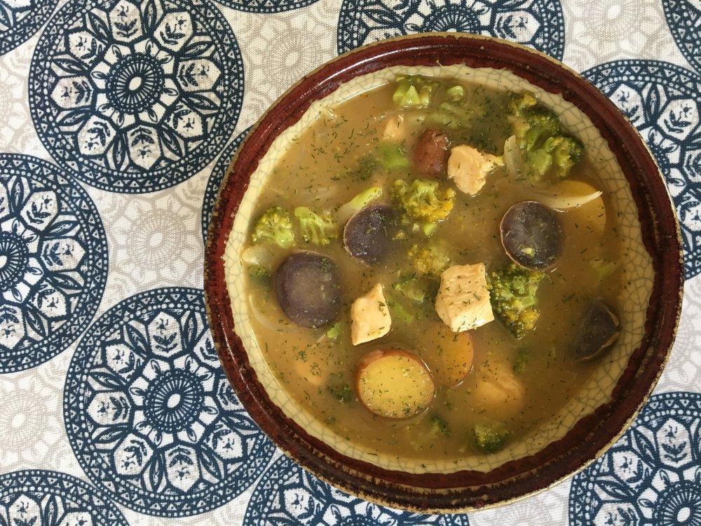 cheesy chicken and broccoli chowder dill, garlic, new potatoes