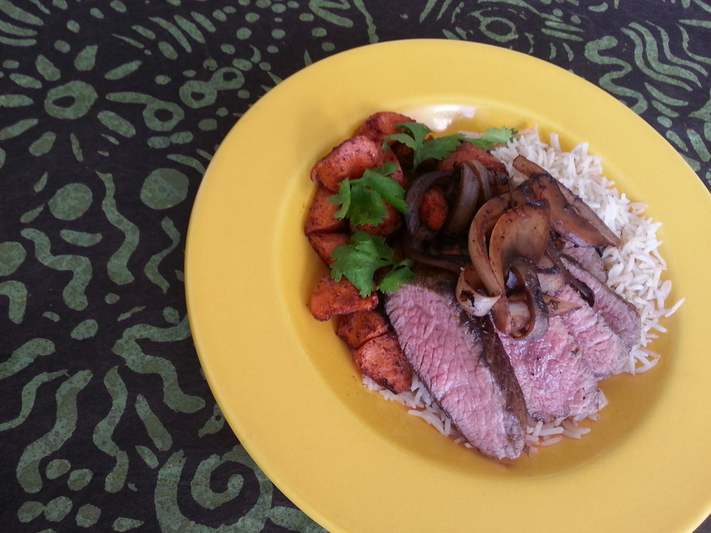 roasted tri tip with balsamic onions basmati rice, sumac carrots