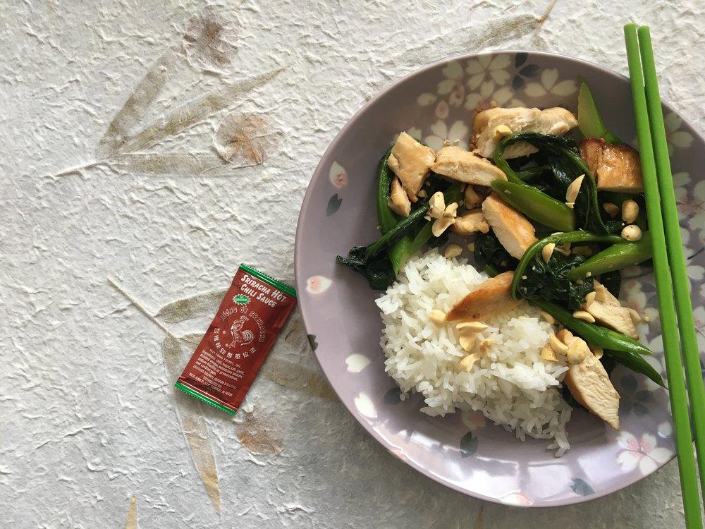 chicken and choy sum stir fry jasmine rice, soy, peanuts, sriracha