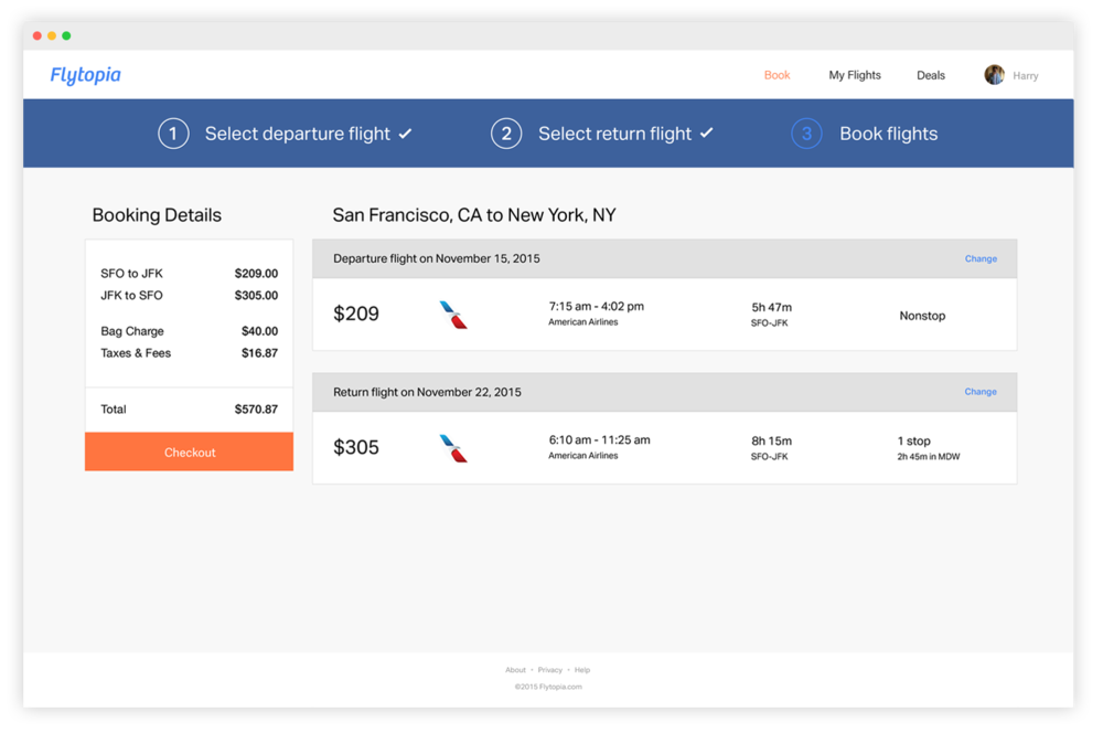 Flight summary and easy checkout