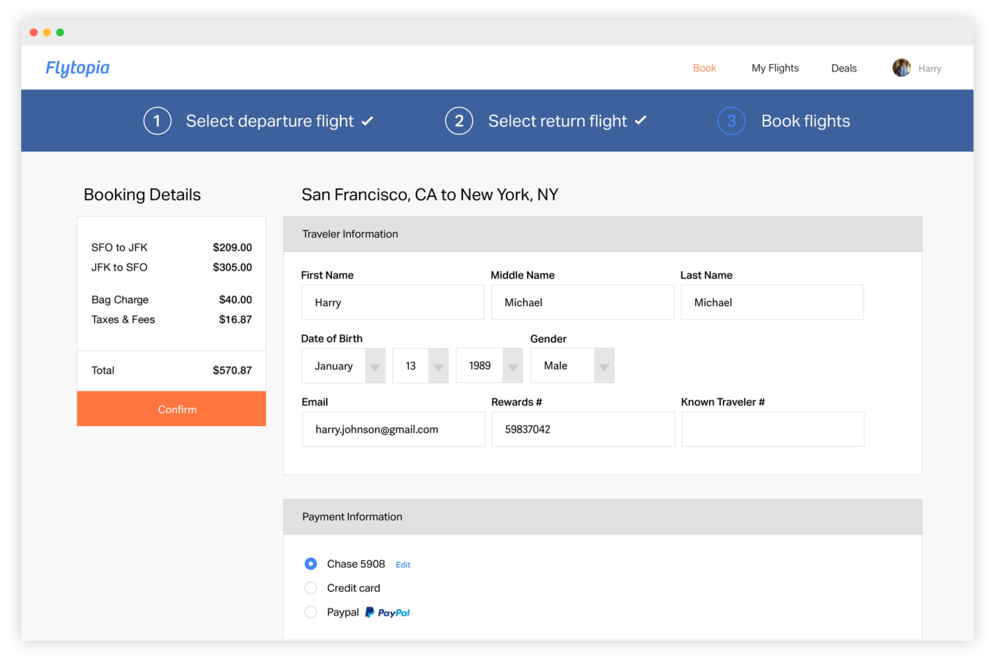 Traveler information saved for faster checkout