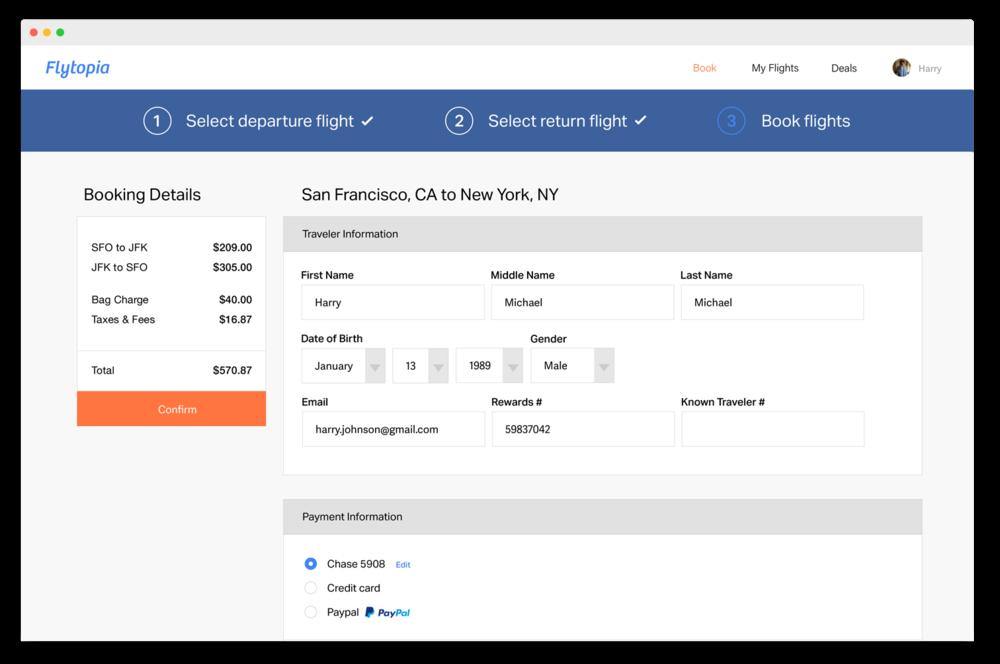 Traveler information saved for faster checkout