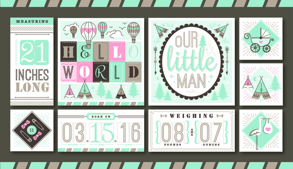 Birth Announcement Modular Quilt Blocks for Anita Goodesign  //   Shop the Embroidery Collection