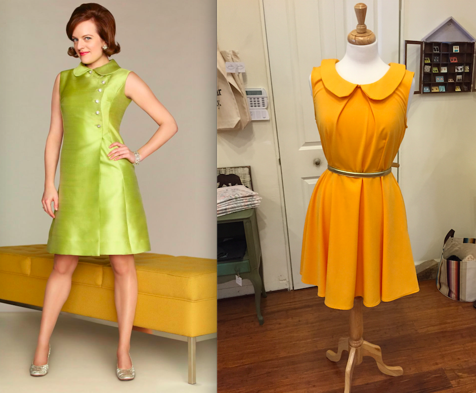 to pull off looks from mad men like this yellow fleet collection dress throw on a brown bob wig and dab on some red lipstick to get a stellar peggy