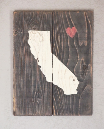 Reclaimed California State with Heart 8X11, $40