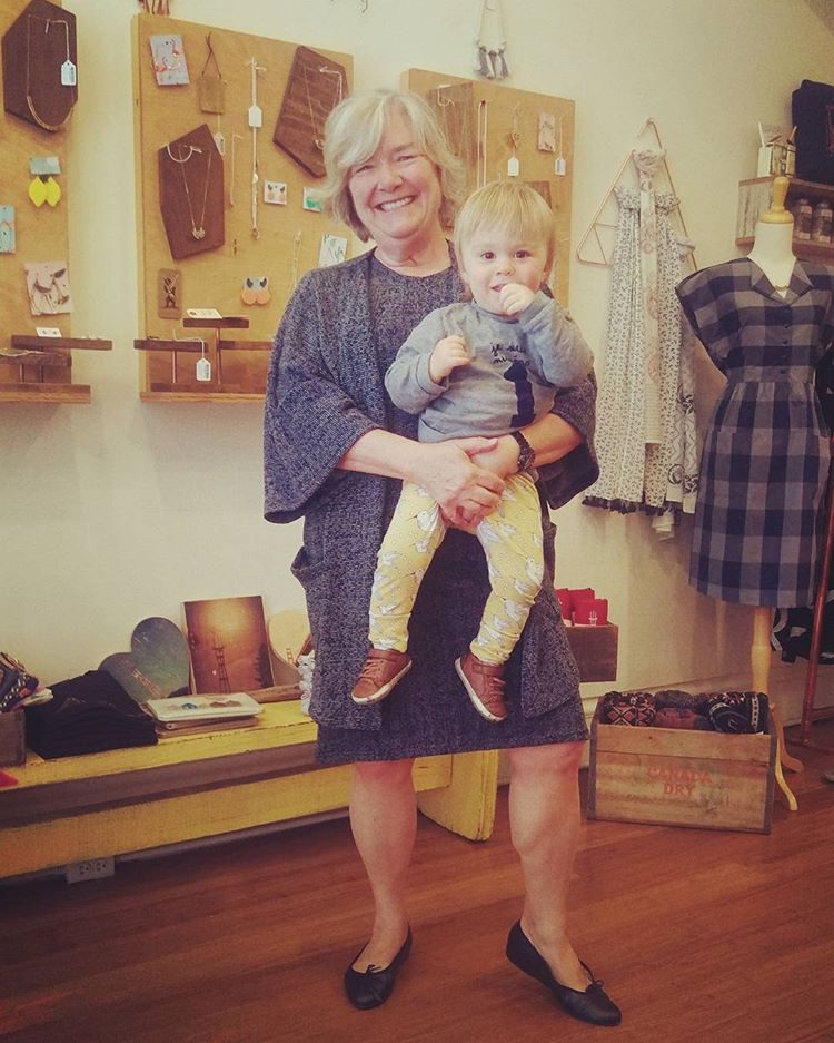 Grandma and our biggest fan in our  textured sweater dress  and  textured sweater kimono  with baby Hunter