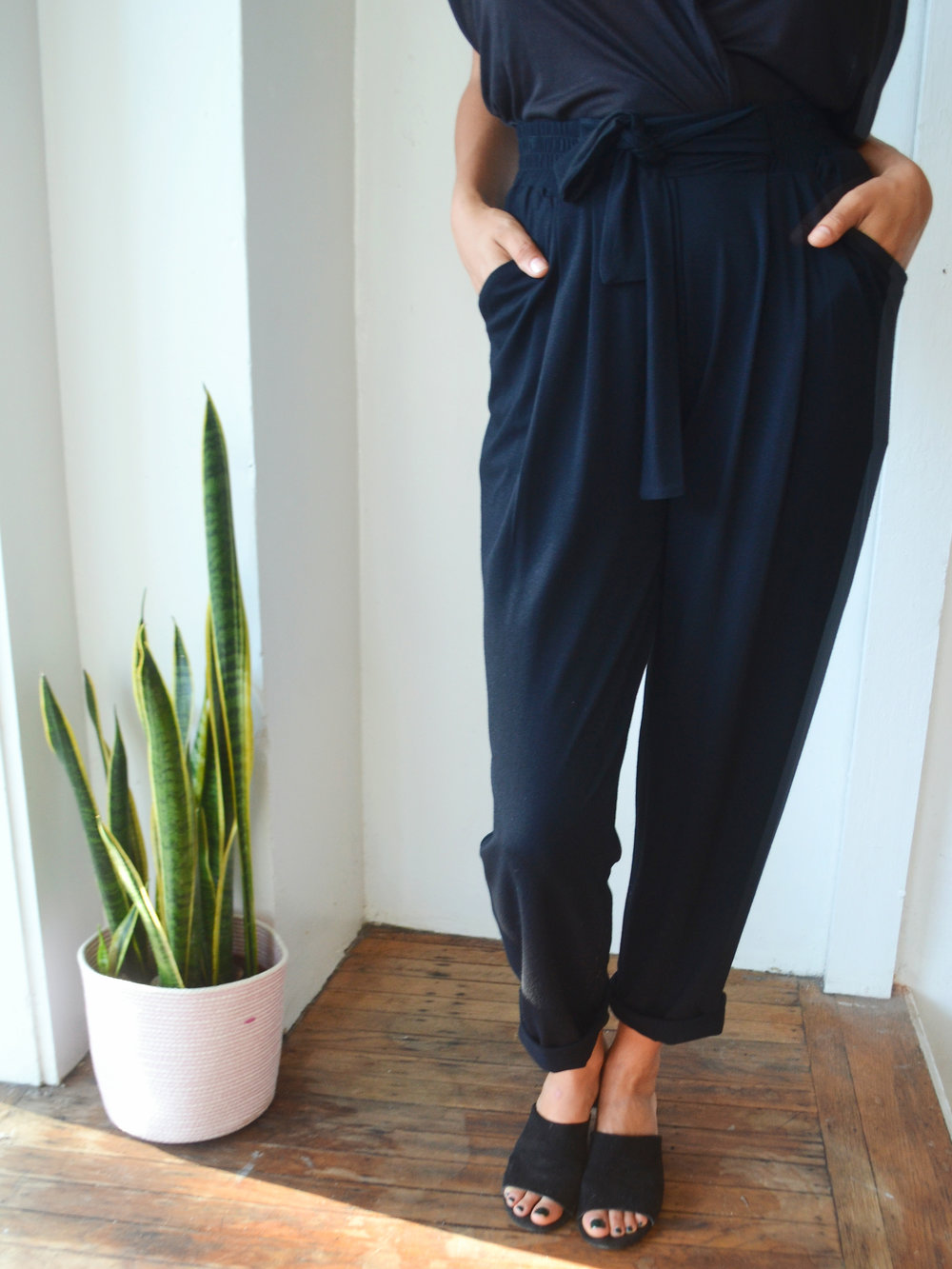 Black Jersey Pleated Pants