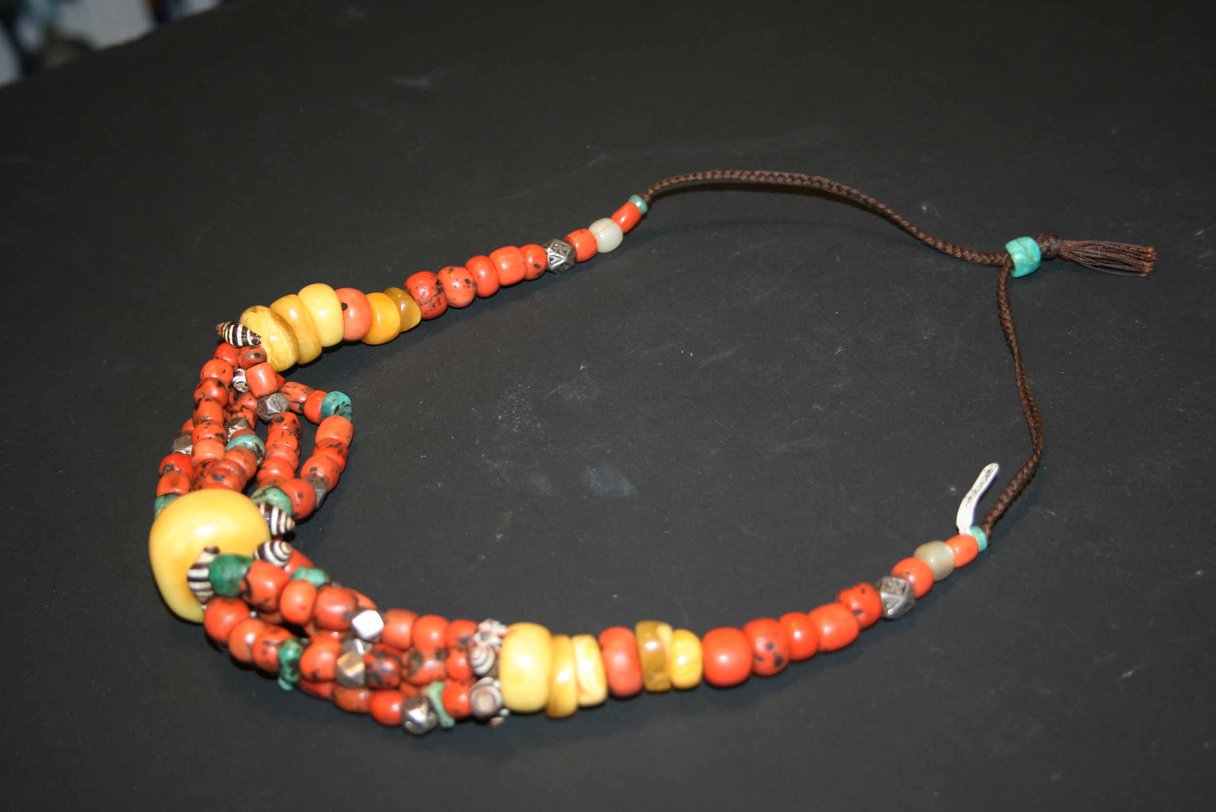 south pin and old draa amazonite coral silver necklace amber berber east valley
