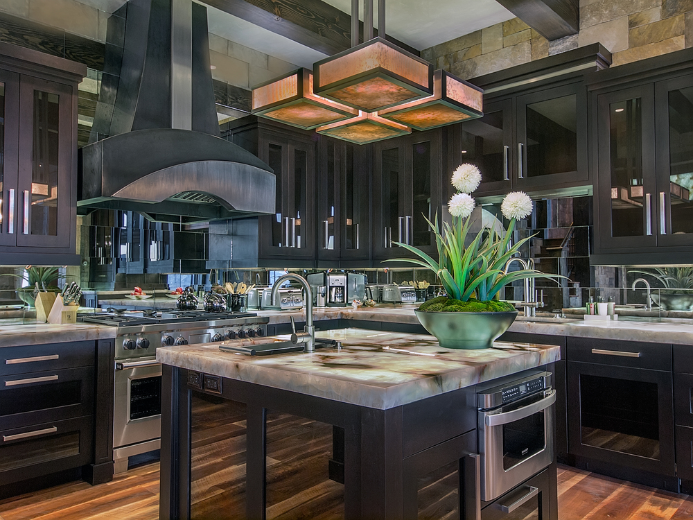 Cabinetry, hardware, and hood concept by Chris Awadalla.  Lighting, countertops and backsplash by Annette Phan.