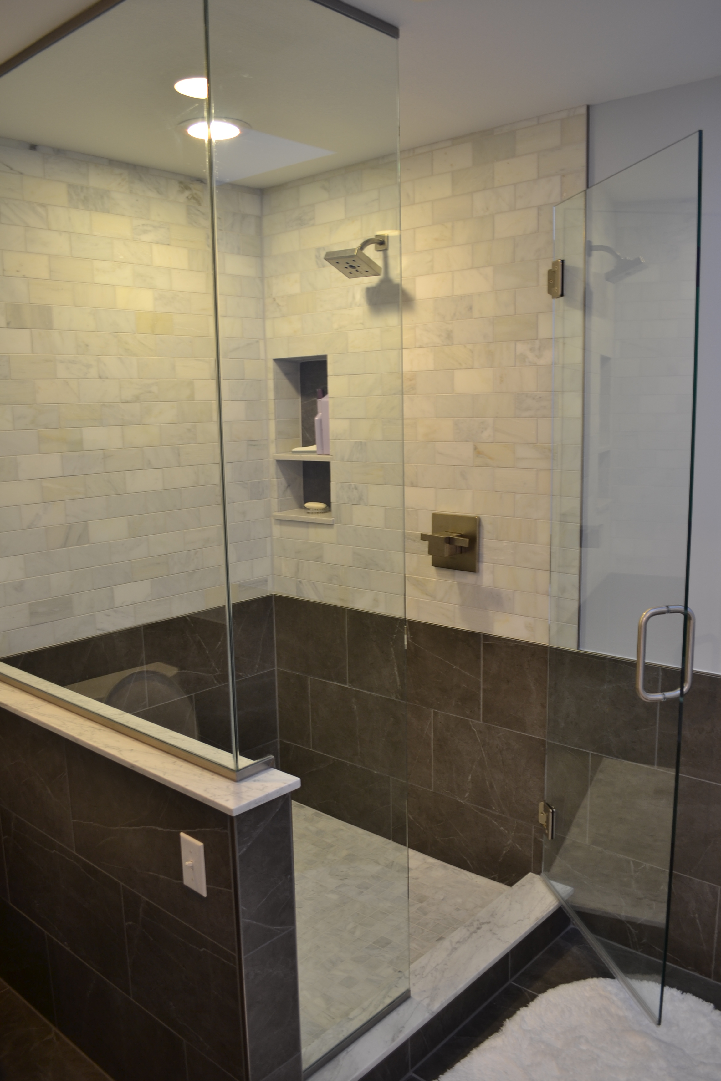 Recently Completed In Cherry Creek For Another Amazing Couple A Frameless Shower With Porcelain And Carrara Tiles Create An Inviting Unique Look