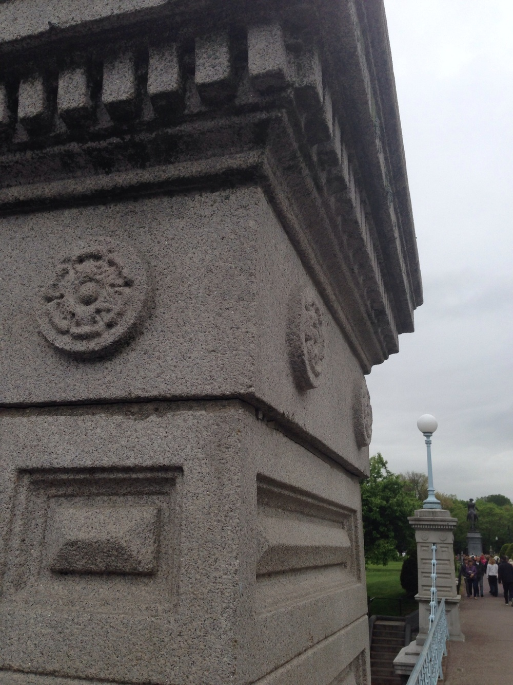 This column is part of a bridge crossing in The Public Gardens.  I like the shape of the dentil mould and the pyramid center panel on each side. Might make a nice island detail...