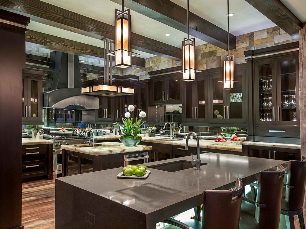 Cabinetry, hardware,and hood concept by Chris Awadalla.  Lighting, countertops, and backsplash by Annette Phan.