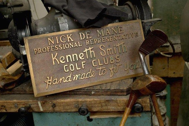 A plaque from Nick DeMane's days in manufacturing in New York City.