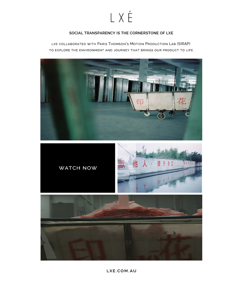 LXE.com.au Commissioned Creative Capsule exclusively for LXE Paris Thomson of SIRAP