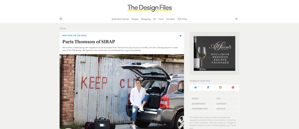 THEDESIGNFILES.net The Design Files | NEW KIDS ON THE BLOG Paris Thomson of SIRAP