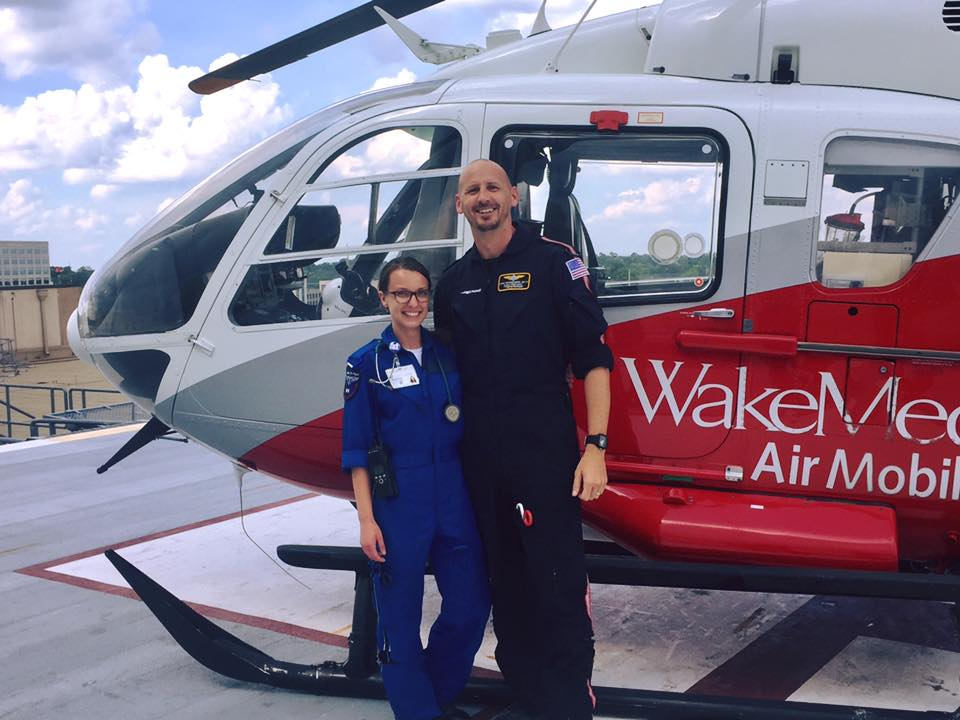Future Flight Crew alumni Patricia Dudley with her mentor, John VonRosenberg. Patricia is currently working at Duke Life Flight where she has started her flight orientation after successfully completing a rigorous ground orientation.