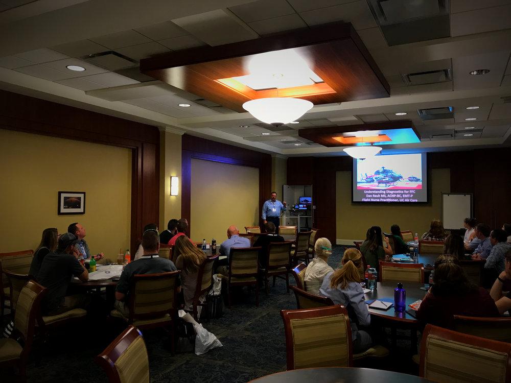 Dan Rauh, UC Air Care, providing a presentation for the Future Flight Crew in Chattanooga, TN.