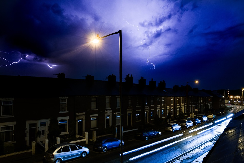 Photographing lightning is challenging but very rewarding when you get that amazing shot! This photo was captured in Preston, Lancashire where we'll see only one to two storms per year. This photo is made up of 4 lightning captures! Find out how I achieved this below.