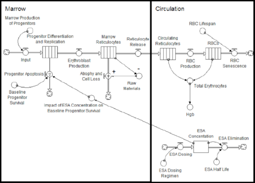 Figure 1: This stock and flow diagram allowed the researchers to effectively communicate with specialists and resolve key misunderstandings in their work.