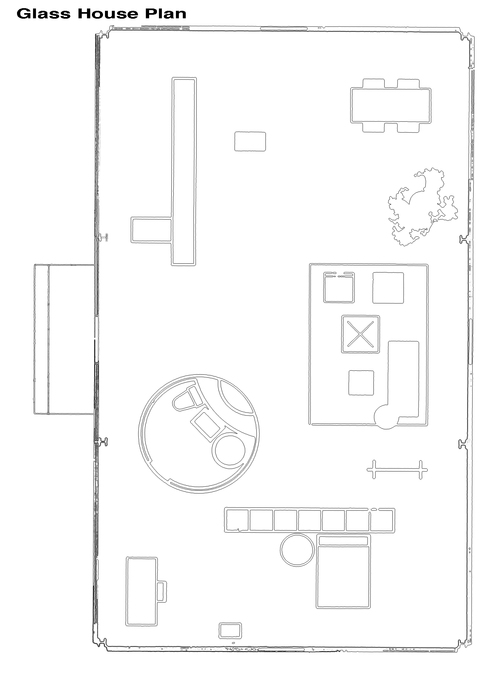 Friend of Mies Van der Rohe   James BelflowerGlass House plan jpg