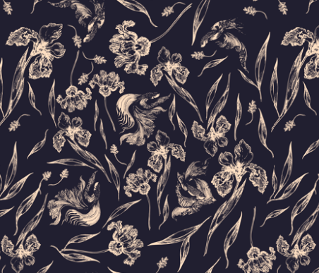 Swimming In Flowers  by: feanne on spoonflower