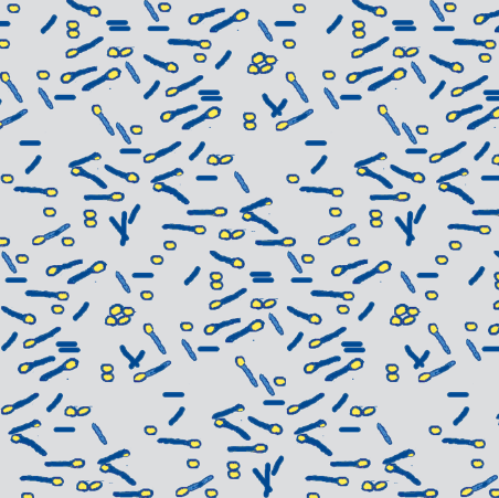 bacteria blue yellow on grey  by: wolfishie on spoonflower