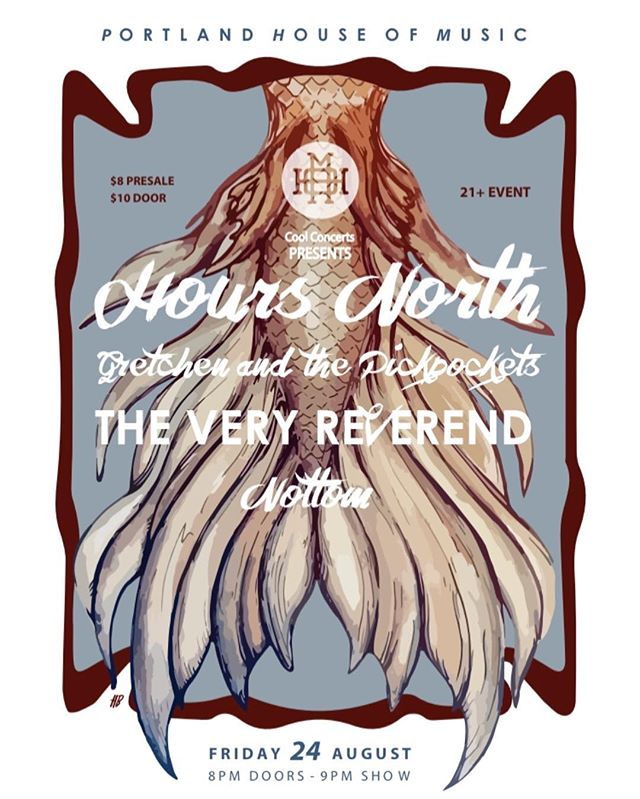 One week from today we'll be in Portland @portlandhouseofmusic with our new friends @hoursnorthmusic @tvreverend and @nottomtheband ! Come hang out with us!