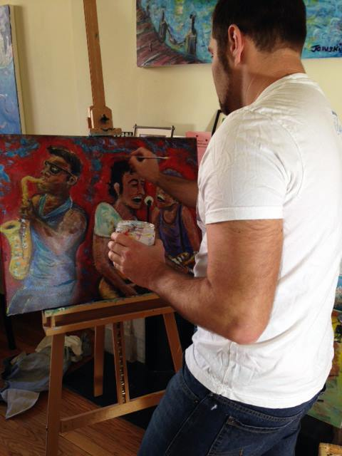 Jason at work in his studio - Feb 2014