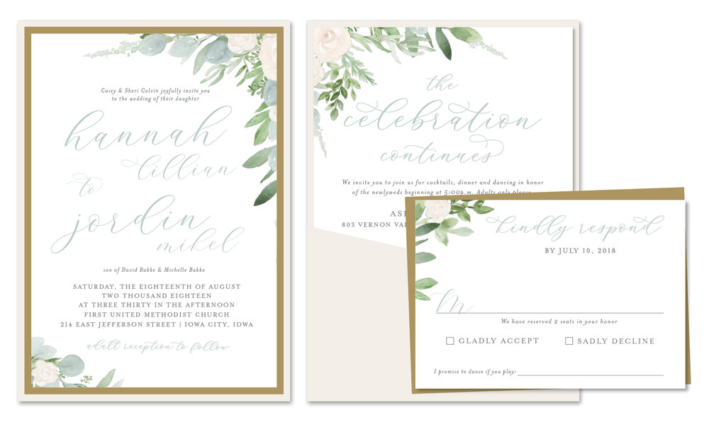 Dusty Blue Romantic Flowers Wedding Invitation