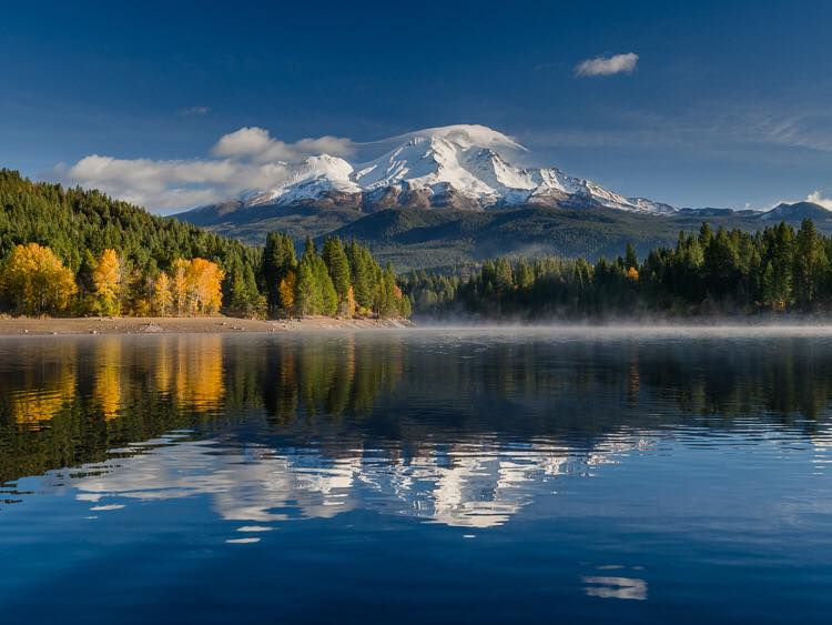 View of Mt Shasta from Lake Siskiyou