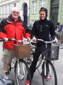 Gwen with her father, Joel in Denmark