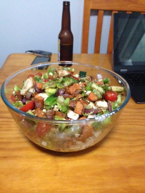 Salad for dinner.