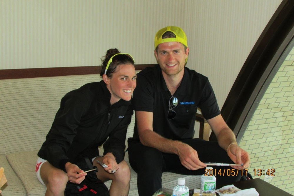 Patrick and me refueling with some sushi and the ASICS crew post-race
