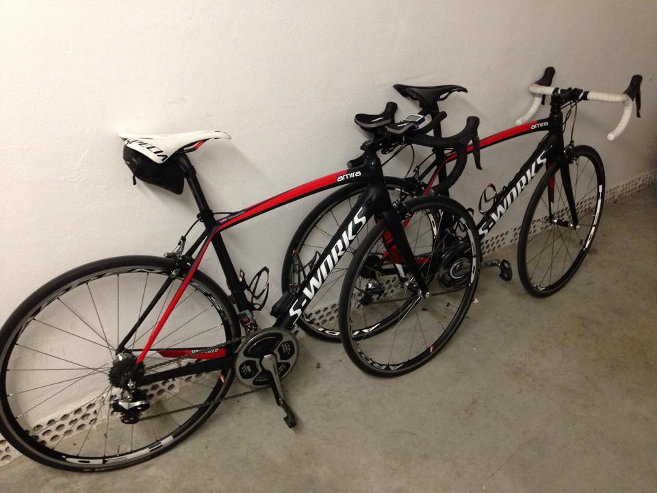 My Amira with Di2 is my primary race bike.  My Amira with DuraAce mechanical is my spare bike.