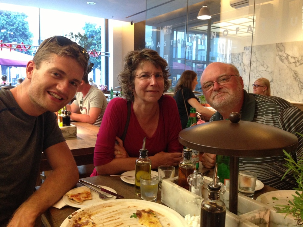 Dinner pre race with my parents and Patrick :) So much love