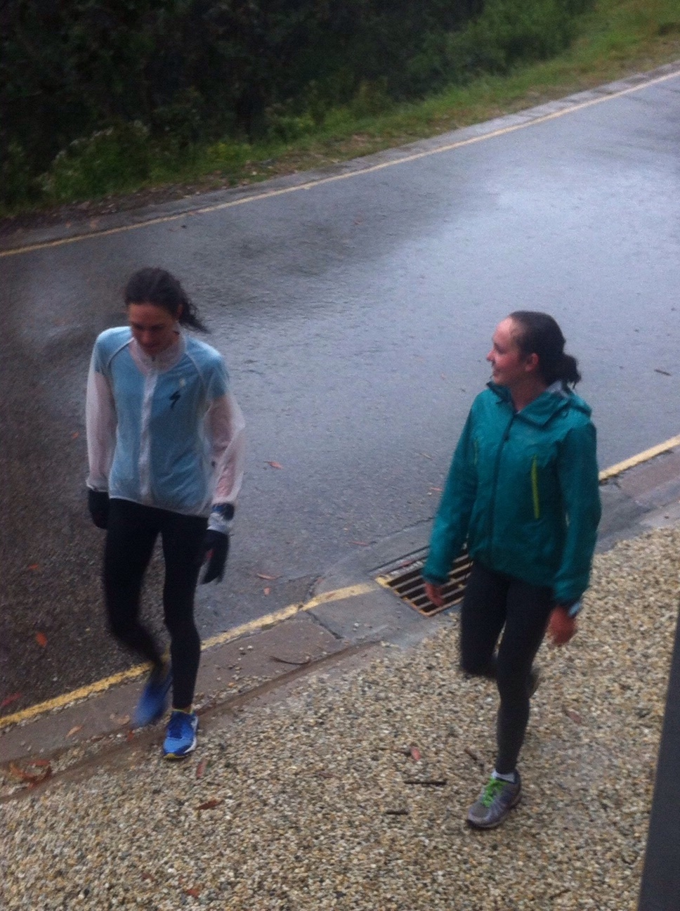 A rainy walk back from the trails in Falls Creek with Ellen Pennock.