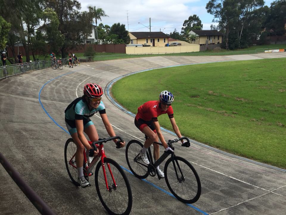 Ellen Pennock and me riding our Langster track bikes