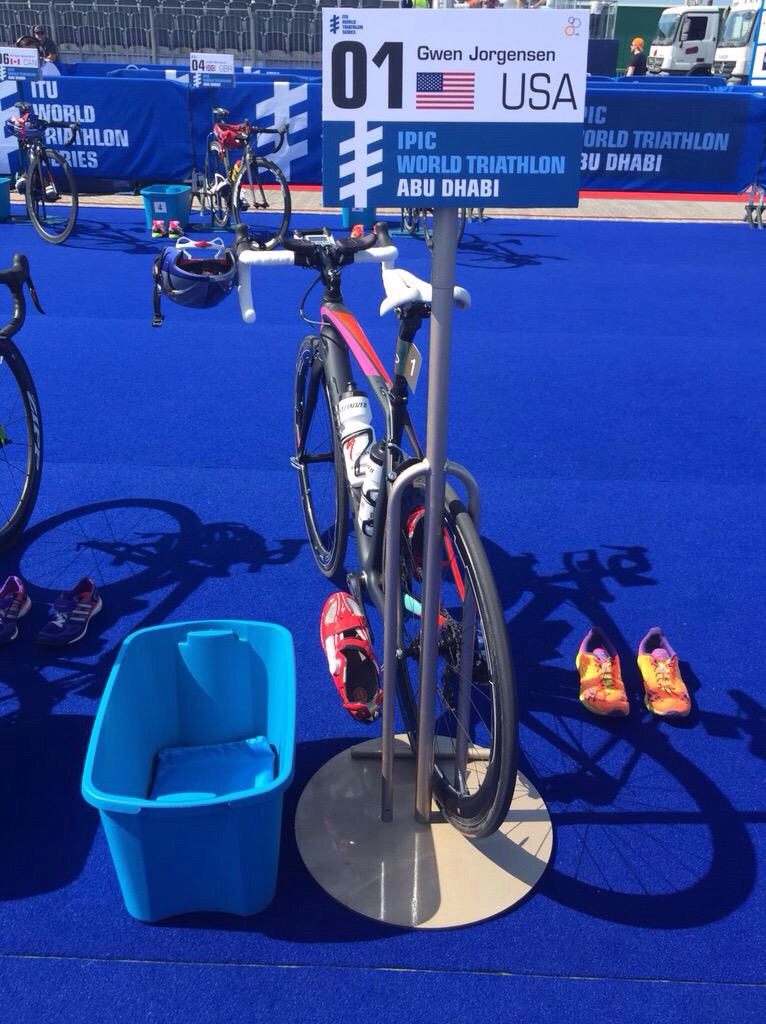 My bike waiting in transition...Photo thanks to Specialized