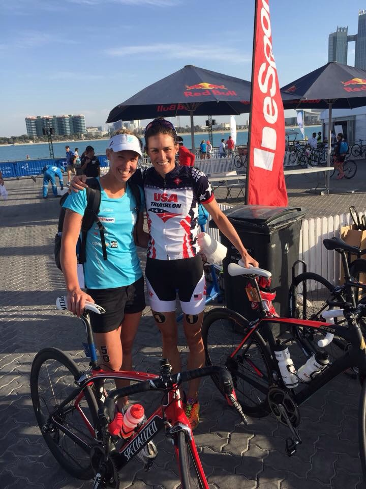 Two Island House athletes post race: Lisa Norden and me.