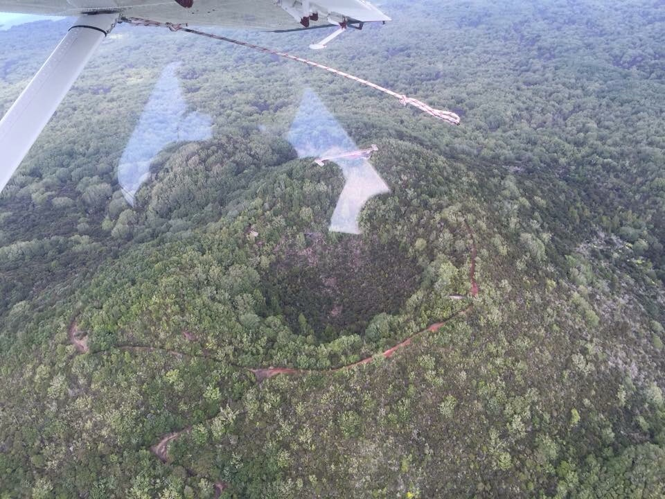 This is a view from the Seaplane of Rangitoto. You can see the trail I hiked up the prior year.