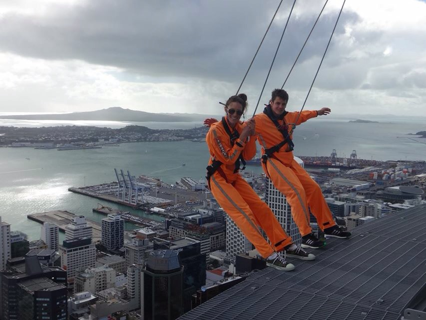 Jonathan Brownlee and me completing a Skywalk Challenge.