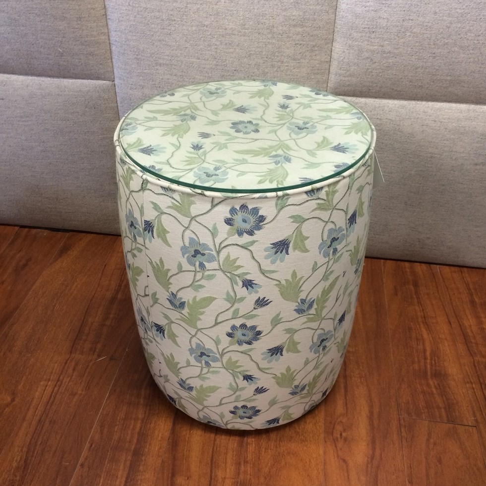 $454 ea Style: Barrel Side Table Fabric: Bloom Sea