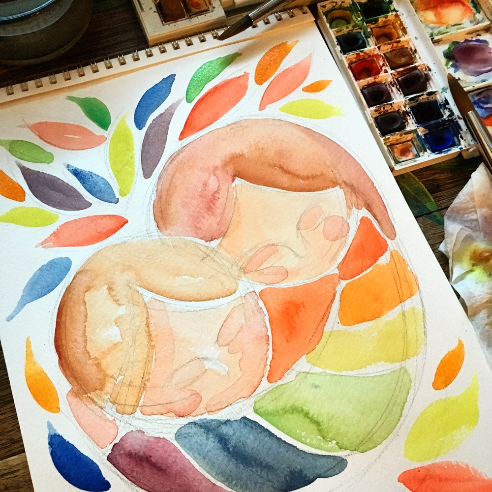 watercolor in process