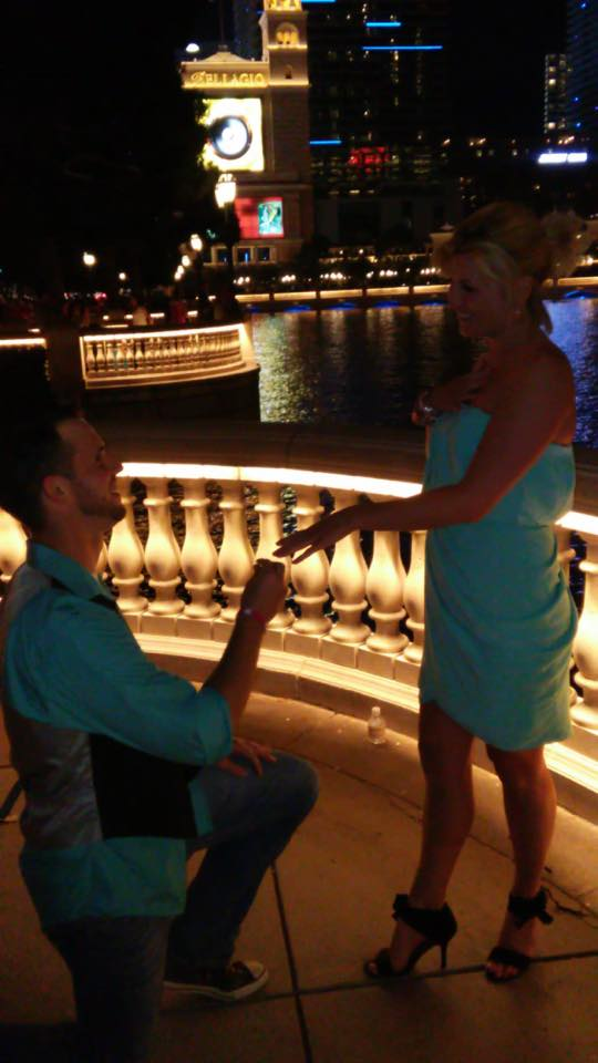 Getting engaged outside the Bellagio in Las Vegas