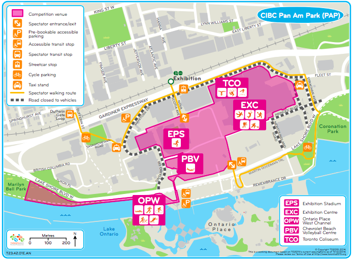 Map of the 2015 Toronto PAN Am Games