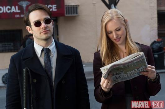 Charlie Cox as Matt Murdock and Deborah Ann Woll as Karen Page; via Marvel.com