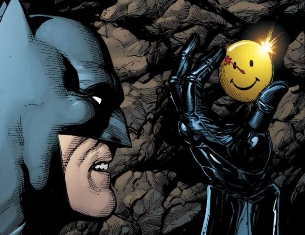 Batman discovers The Comedian's iconic pin; via DC Universe: Rebirth Special/DC Comics, Inc.